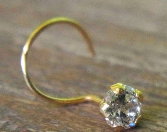 22K Yellow Gold nose stud CZ Diamond 3mm