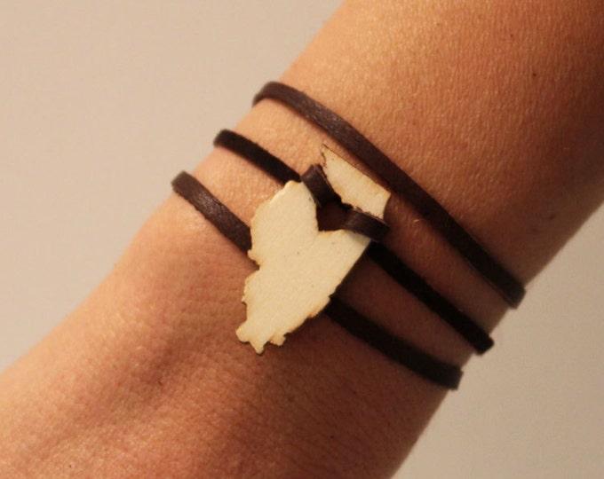 Illinois Leather Wrap Bracelet