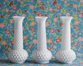 3 Milk Glass Vintage Vases, Hob Nail White Polka Dot, Wedding Centerpiece