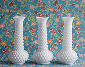 3 Milk Glass Vintage Vases, Hob Nail White Polka Dot, Wedding Centerpiece