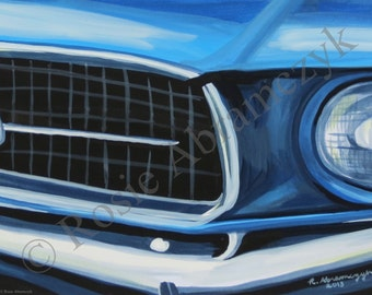 1967 Ford Mustang, Gouache Painting, Art Print (by Rosie Abramczyk) SALE!