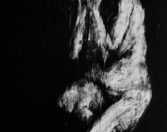 Haunting Figure Monotype Print, Descent II
