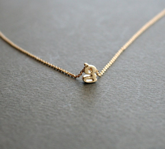 Gold initial necklace gold lowercase letter by studiogoods for Lowercase letter necklace