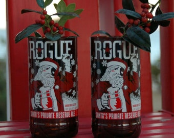 Santa Glasses, Rogue Recycled Beer Bottle Glasses - Set of 2