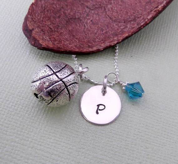 Basketball Necklace with Initial Charm and Birthstone- Basketball Charm Necklace- Children's Jewelry
