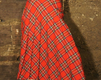 Women's Vintage Red Plaid Skirt by That's My Babee of Fritzi