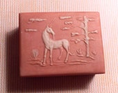 """Vintage Estate Find Unicorn 1960's Pink Cameo Soapstone Trinket & Music Box: Plays """"Impossible Dream"""""""