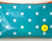 Oil cloth, star printed pouch/pencil case/make-up bag/wash bag with button detail and contrast zip