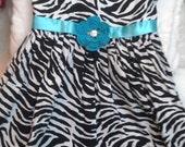 GirlsToddler Zebra Dress Sundress - Handmade Irish Rose - Black White Blue - Sizes 4, 5, Years