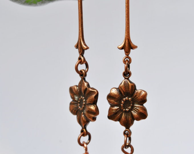 Long Copper Floral Earrings with Mocha Swarovski crystals