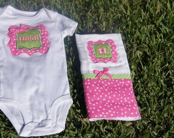 Pink and Green Polka Dot Girly Onesie  - Modified with Initial & Name