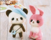Painter Panda & Bunny Needle Felting Kit