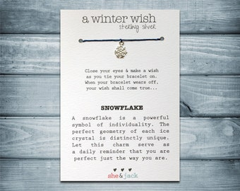 SNOWFLAKE - Wish Bracelet - Sterling Silver Charm - Waxed Irish Linen - Choose Your Own Color