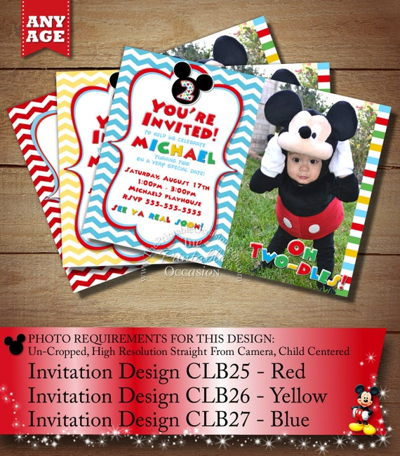 HUGE SELECTION Mickey Mouse Birthday Invitation, Mickey Printable Invitations, Clubhouse Mickey Birthday Cards, Chevron Photo Invitations