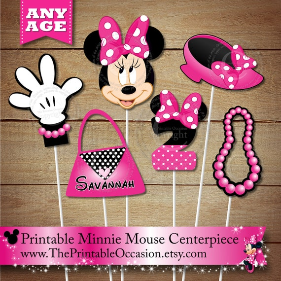 pink polka dots personalized minnie mouse printable