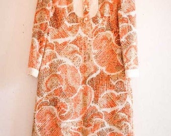 Stunning 1960s Vintage Dress by S Modell in Orange and Cream Mohair with Gold Buttons UK12