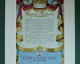 Royal Baby vintage advert print, Duchess of Cambridge, Kate Middleton and Prince William, Royal baby boy, Royal baby girl, English royalty