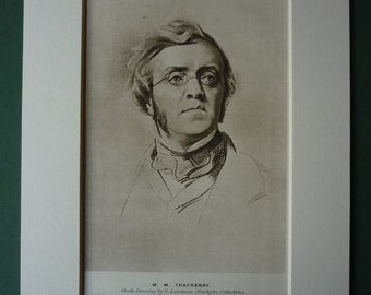1940s Vintage Print Of William Makepeace Thackery - Portrait - Sepia Picture - Literature - Matted Print - Mounted Print - Ready To Frame