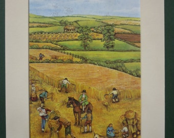 Vintage Print Of An English Countryside Harvest - Fields - Peasants - Agriculture - Summer - Matted Print - Farming - Farm - Agricultural