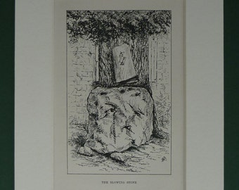 1907 Antique Print Of The Blowing Stone From Thomas Hughes' Tom Brown's School Days - Black & White - Uffington - Oxfordshire - King Alfred