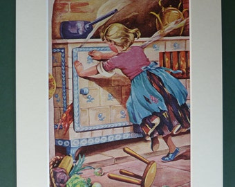 1950s Vintage Hansel & Gretel Print - Fairytale - Children's Illustration - Colourful - Colorful - Kitsch - Retro - Wicked Witch - Old Stove