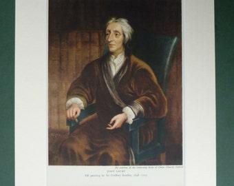 1940s Vintage Print Of John Locke By Godfrey Kneller - Liberal - Classic Liberalism - Portrait - Art Print - Vintage Art - John Locke Print
