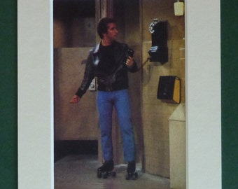 1979 Vintage Happy Days Print - Fonzie Picture - Fonz Photograph - Retro 1970s Cool Dude - Old Roller Skates - Toilet Cubicle - 1950s Diner