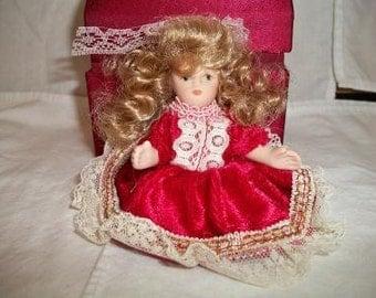 Vintage Miniature Porcelain Doll Red Velvet Dress Blonde Hair Christmas