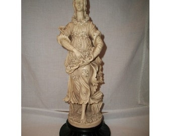 Vintage Statue Alabaster Sculpture ITALY GINO RUGGERI Woman with Flowers