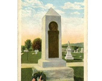 Antique Maryland Postcard with Barbara Fritchie Monument in Frederick, MD 1920s Unused