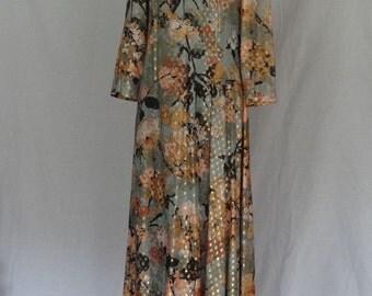 SALE!! 1960s Dress / Sage Green Gold Lamae Full Length Party Dress 1920s Style / Lane Bryant / Leslie Pomar