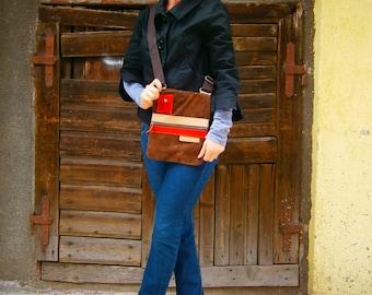 Leather Bag, Genuine Leather Crossbody Bag, Brown leather crossbody Bag, Handmade Bag, Red and Brown crossbody bag,