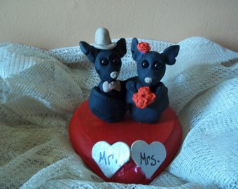 Custom Made Bat  Wedding Cake Topper/ Bride and Groom Bats/made for you, can be personalized/ Halloween Wedding/ Goth Wedding