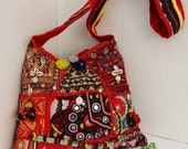 Vintage OOAK Pristine Banjara Tribal Heavily Embroidered Tasselled Mirrored Ethnic coins Rare Bag