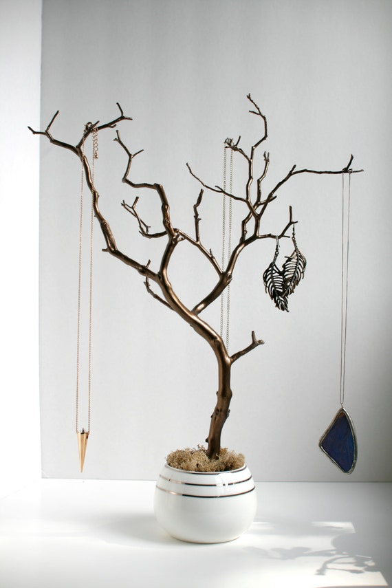 Jewelry holder organizer tree bronze and white by for Tree branch jewelry holder