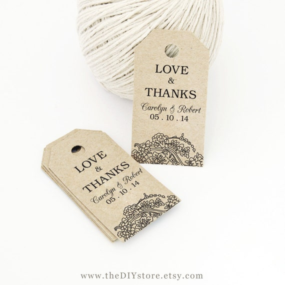 Print Your Own Wedding Gift Tags : Wedding Favor Tag Printable, Text Editable, SMALL Tag Size, Hang Tags ...