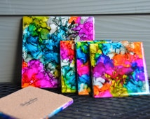 "Alcohol Ink Ceramic Coasters - ""Hippie Love Child"" Color Pallet"