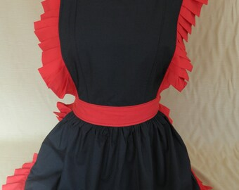Retro Vintage Victorian Style Full Apron / Pinny - Black & Red