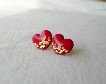 Red and gold heart post earrings- Delicate Valentine's Day jewelry- Cute feminine stud earrings