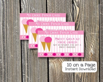 Sweet Treat, Ice Cream  Chore Punch Card, Reward Card, Chore Card - Instant Download