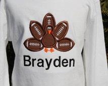 BOYS FOOTBALL Personalized Thanksgiving shirt bodysuit baby toddler bodysuit shirt brown football turkey Outfit BOY Football Turkey