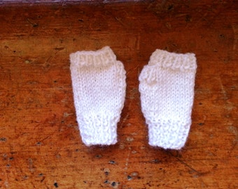 White baby gloves - fingerless gloves - white wool handwarmers - unisex baby shower gift