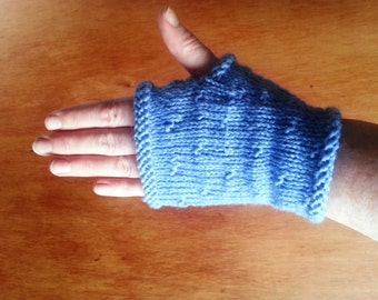 Womens fingerless glove - hand knit blue gloves with no fingers - womens gloves