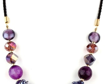 Violet Murano Glass Beaded Fashion Necklace for women