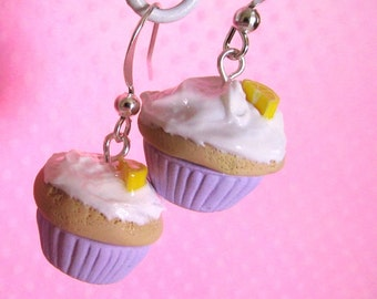 Polymer Clay Lavender Lemon Cupcake Dangle Earrings, Kawaii Clay Mini Food Jewelry, For Girls, with White Frosting, Cute Charm