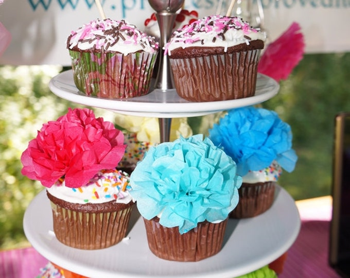Paper Flower Appetizer/Cupcake Picks (1 dozen) Choose Your Own Colors