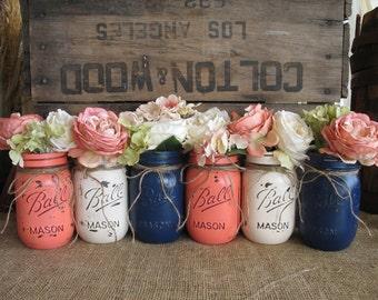 SALE!!! 6 Pint Mason Jars, Painted Mason Jars, Flower Vases, Rustic Wedding Centerpieces, Navy Blue, Dark Coral And Creme Mason Jars