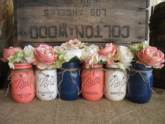 SALE!!! 6 Pint Mason Jars, Painted Mason Jars, Flower Vases, Rustic Wedding Centerpieces, Navy Blue, Dark Coral And Creme Mason Jars