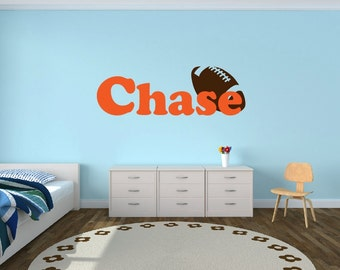 Personalized Football Name Decal - Sports Decor Kids Room Teen Name Vinyl Wall Decal Sports