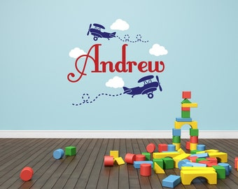 Airplane Name Decal - Clouds Decal Nursery Decor - Airplane Decal Childs Room Decor Vinyl Wall Decal Airplanes With Clouds